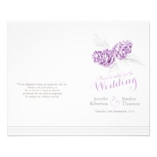Programa gris púrpura del boda del otoño del folleto 11,4 x 14,2 cm