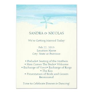 Programa II del boda de playa de las estrellas de Invitación 11,4 X 15,8 Cm