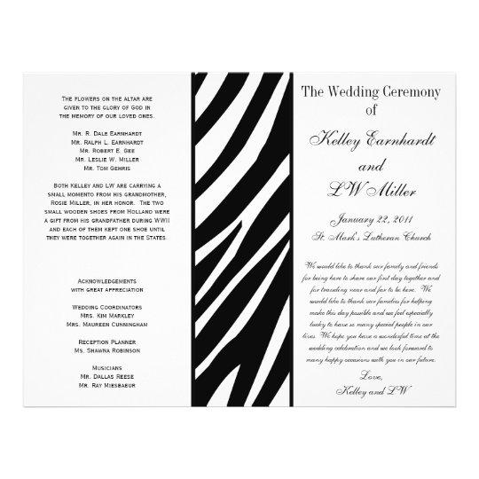 Programa intrépido del boda de la raya de la cebra