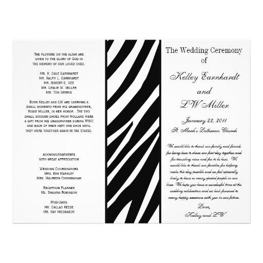 Programa intrépido del boda de la raya de la cebra folleto 21,6 x 28 cm