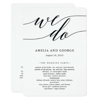 Programa moderno de la ceremonia de boda de la