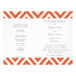 Programa moderno gris anaranjado del boda de Chevr Flyer Personalizado