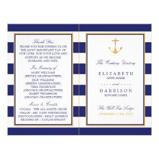 Programa náutico del boda del ancla del oro del folleto 21,6 x 28 cm
