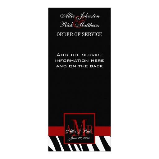 Programa negro de la iglesia del boda de la cebra  comunicado personalizado