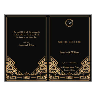 Programa negro del boda del estilo de Gatsby del Folleto 21,6 X 28 Cm