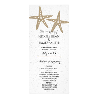 Programa nupcial del boda de la ducha de la playa tarjeta publicitaria