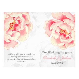 Programa plegable del boda del Peony rosado