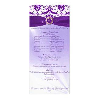 Programa púrpura de la ceremonia de boda