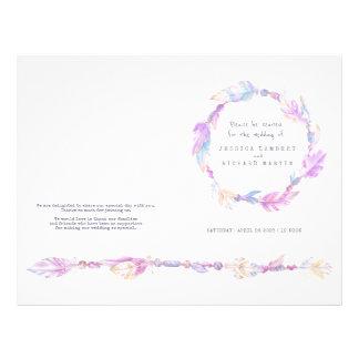 Programa púrpura del boda de la guirnalda de la