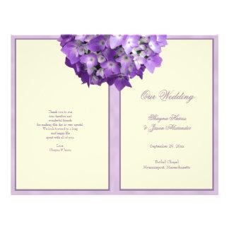 Programa púrpura del boda del Hydrangea del blanco