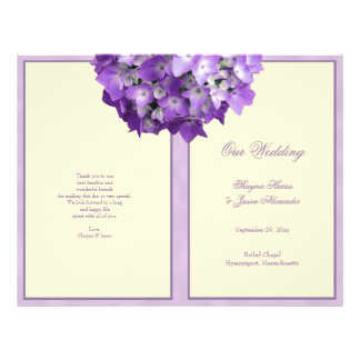 Programa púrpura del boda del Hydrangea del blanco Folleto 21,6 X 28 Cm
