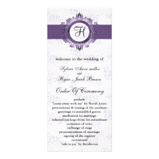 programa púrpura del boda del monograma
