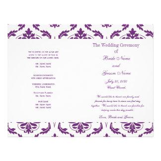 Programa púrpura oscuro del boda del damasco del