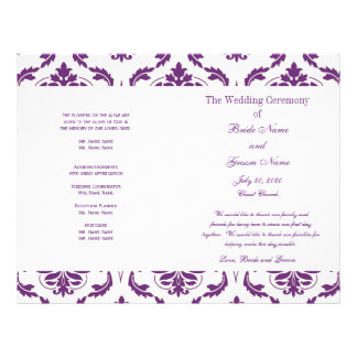 Programa púrpura oscuro del boda del damasco del folleto 21,6 x 28 cm