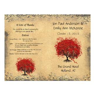 Programa rojo caprichoso del boda del árbol de la folleto 21,6 x 28 cm