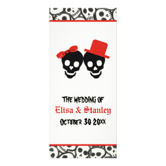 Programa rojo del boda de Halloween de los cráneos