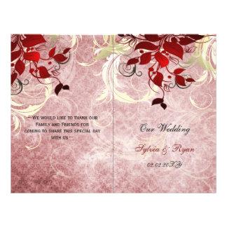 Programa rojo del boda del doblez del BI del Folleto 21,6 X 28 Cm