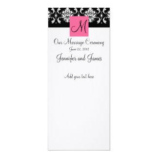 Programa rosado de la iglesia del boda del damasco invitación 10,1 x 23,5 cm