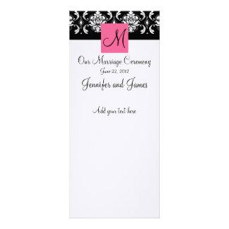 Programa rosado de la iglesia del boda del damasco comunicado personalizado