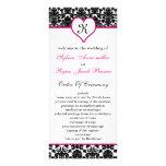 programa rosado del boda del damasco del monograma tarjeta publicitaria a todo color