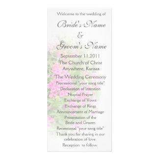 Programa rosado del boda del Phlox Lona Personalizada
