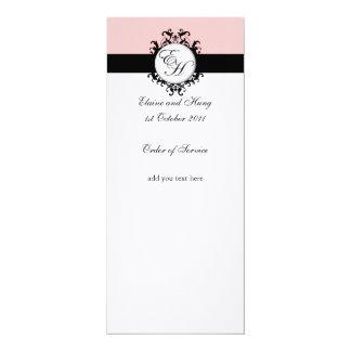 Programa rosado elegante del boda del damasco invitación 10,1 x 23,5 cm