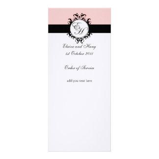 Programa rosado elegante del boda del damasco sobr anuncio