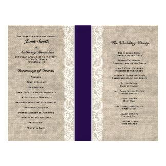 Programa rústico del boda de la cinta de la marina folleto 21,6 x 28 cm