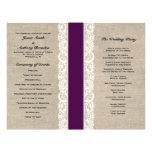 Programa rústico del boda de la cinta del ciruelo  flyer personalizado