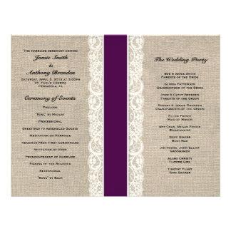 Programa rústico del boda de la cinta del ciruelo folleto 21,6 x 28 cm