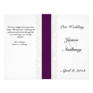 Programa rústico del boda de la cinta del cordón y folleto 21,6 x 28 cm