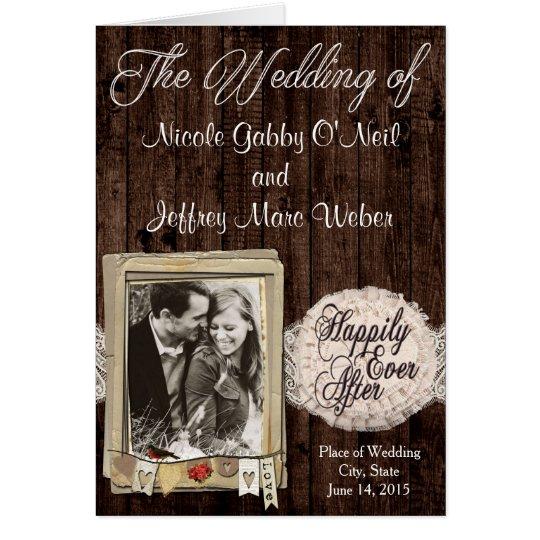 Programa rústico del boda de la foto de los pares