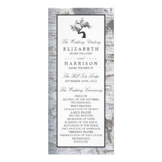 Programa rústico del boda del árbol de abedul de tarjetas publicitarias personalizadas