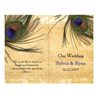 Programa rústico del boda del bookfold de la pluma folleto 21,6 x 28 cm