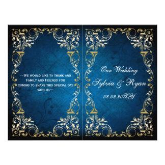 Programa rústico del boda del bookfold del oro de folleto 21,6 x 28 cm