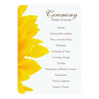 Programa rústico del boda del girasol invitación 12,7 x 17,8 cm