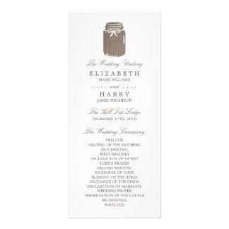 Programa rústico del boda del tarro de albañil de lonas personalizadas