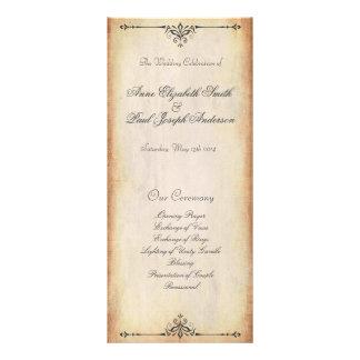 Programa rústico del boda del vintage tarjeta publicitaria a todo color