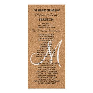 Programa rústico del monograma del boda del corcho
