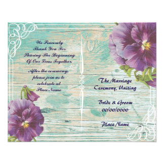 programa rústico floral del boda folleto 11,4 x 14,2 cm