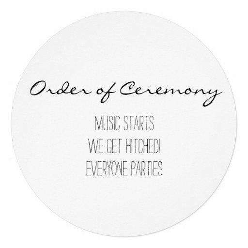 Programa simple y divertido del boda invitaciones personalizada