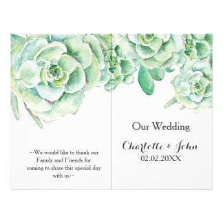 programa suculento del boda de la acuarela folleto 21,6 x 28 cm