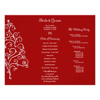 Programa triple del boda del invierno rojo del folleto 21,6 x 28 cm
