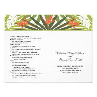 Programa tropical anaranjado del boda folleto 21,6 x 28 cm