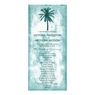 Programa tropical del boda de playa de la palmera diseño de tarjeta publicitaria
