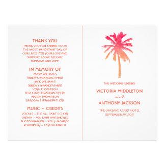 Programa tropical del boda de playa de la palmera folleto 21,6 x 28 cm