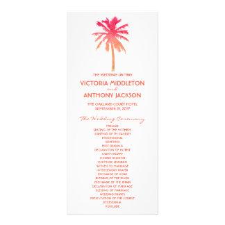 Programa tropical del boda de playa de la palmera tarjetas publicitarias a todo color