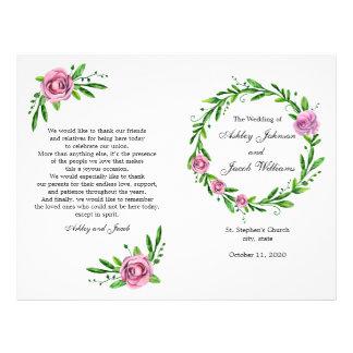 Programa verde del boda. Ceremonia de la iglesia
