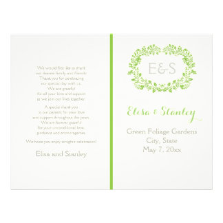 Programa verde del boda del marco del follaje de folleto 21,6 x 28 cm