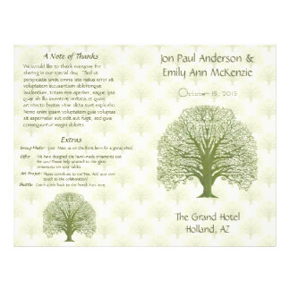 Programa verde oliva del boda del árbol del grano folleto 21,6 x 28 cm